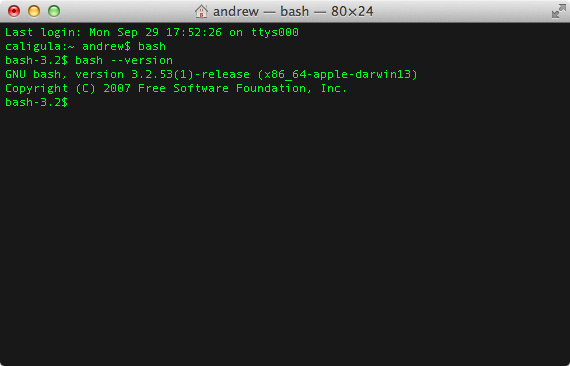 The patched Bash shell on a system running OS X 10.9.5.