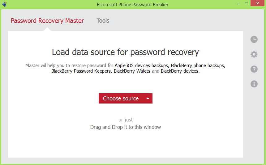 The friendly Windows interface of Elcomsoft Phone Password Breaker. It works with BlackBerry devices as well.