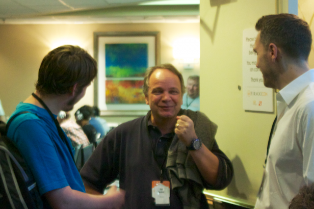 Meier holds forth with fans at a Firaxicon fan gathering in 2014.