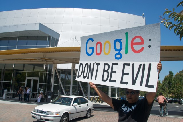 Network neutrality protest at Google headquarters.
