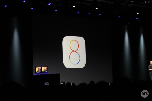 Tim Cook unveils iOS 8 at WWDC 2014.