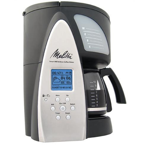 Melitta ME1MSB coffee machine. It has the weather on it, which is useful because... uhhh.