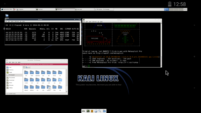 A full Kali Linux desktop running in a VNC viewer on NetHunter.