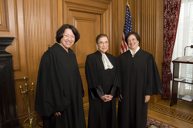 Justices Sonia Sotomayor, Ruth Bader Ginsburg, and Justice Elena Kagan in 2010. All three seemed skeptical of the Oil States argument.