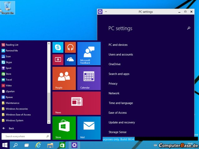 The Start menu looks very purple.