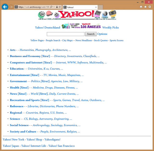 Yahoo's homepage as it appeared in 1996 with the directory front and center.