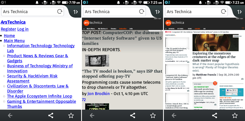 "Ars Technica, as rendered three different times by the Cloud FX. It's ""finished"" loading."
