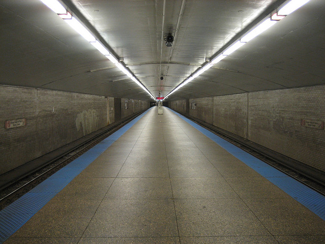The Logan Square stop on the Chicago Transit Authority blue line.