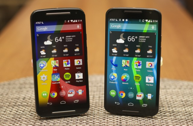 The 2014 Moto G (left) and Moto X (right) will get Android 5.0, along with many other Motorola phones.