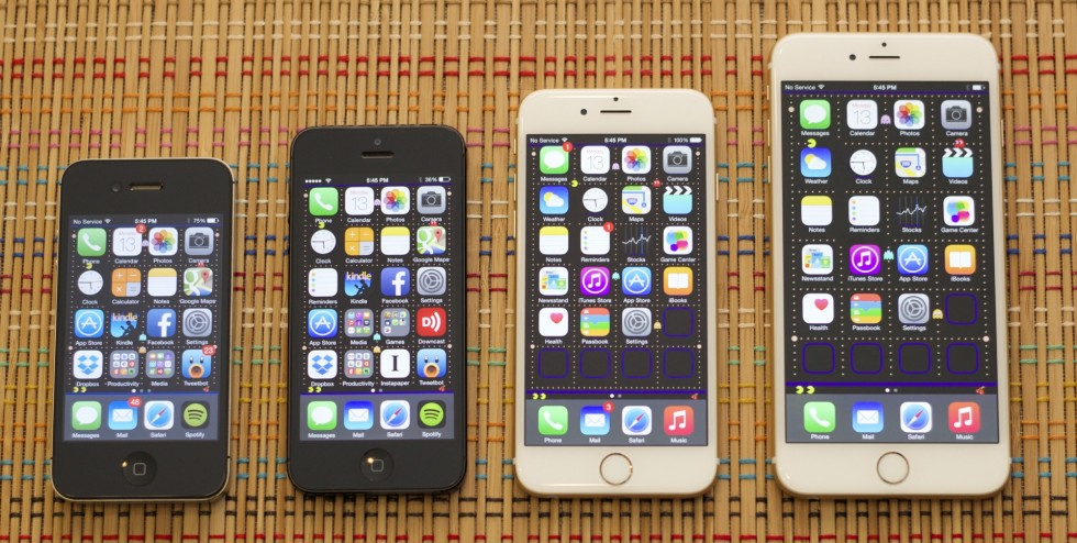 Time (and size) marches ever onward. From left to right, the iPhone 4S, 5S, 6, and 6 Plus.