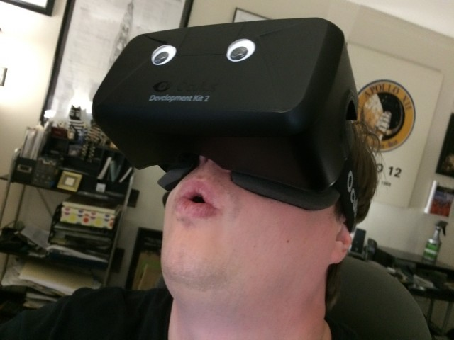 I'll use any excuse to re-use this photo of Ars' Lee Hutchinson in the Rift, even though this story is about a completely different VR headset.