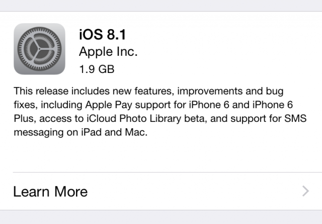 Apple releases iOS 8.1 with Apple Pay, Continuity features