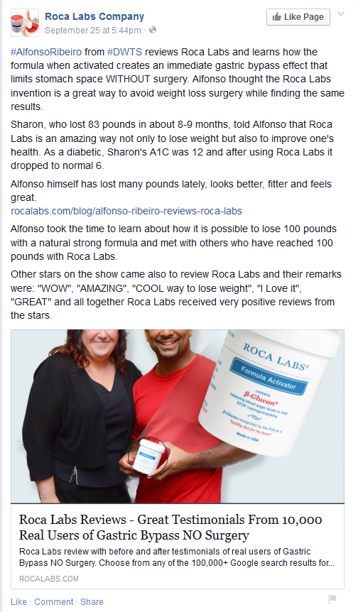 A screenshot of Roca Labs' Facebook page claiming Alfonso Ribeiro's support.