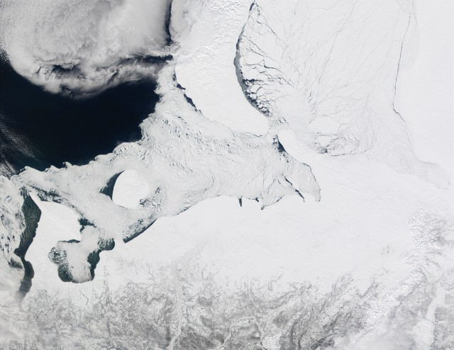 The Barents and Kara Seas, along with some of their ice.