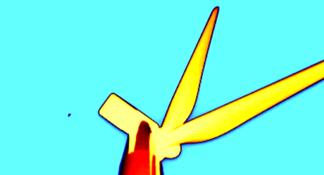 A bat (left) flutters near the nacelle of a wind turbine in one of the authors' videos.