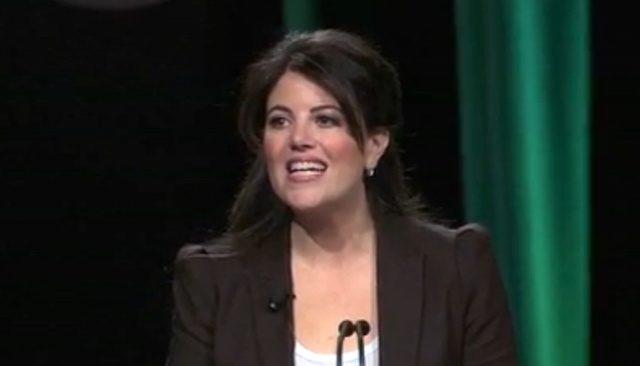 Monica Lewinsky addressing the Forbes Under 30 Summit in Philadelphia, PA.