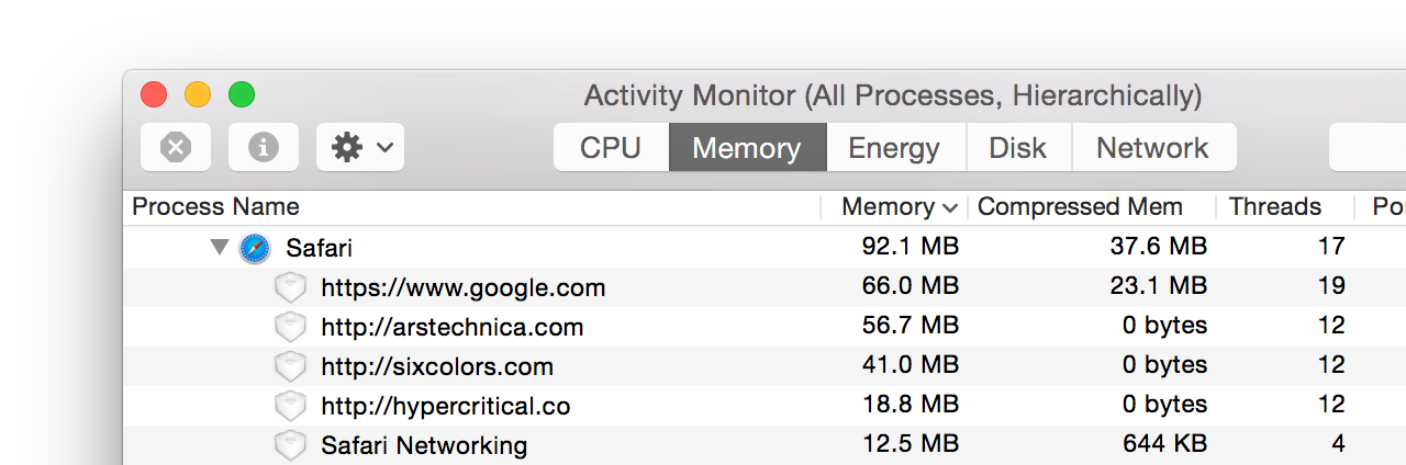 It's now much easier to use Activity Monitor to find and kill the process behind a misbehaving Safari tab.