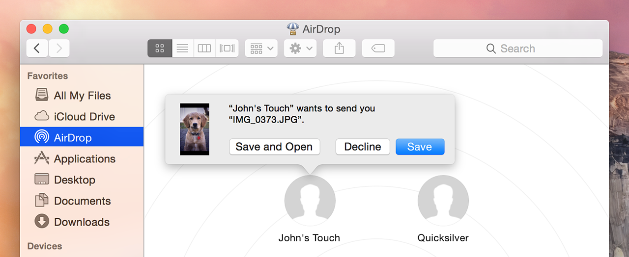 AirDrop now works between iOS devices and Macs. Also, that dog totally looks like Harrison Ford.