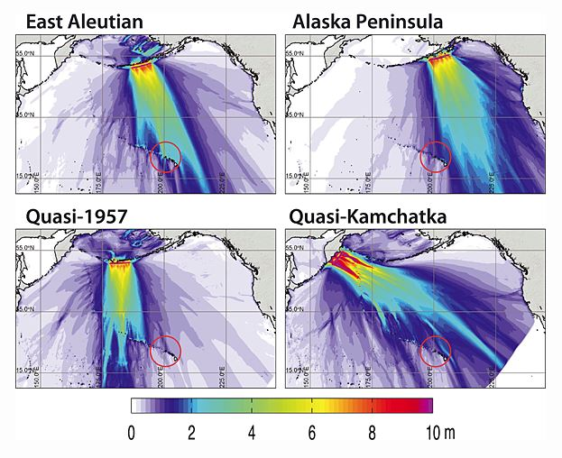 Simulated tsunamis for earthquakes in several locations.