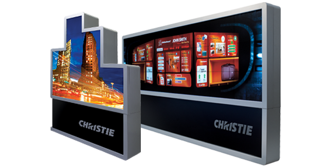 Christie MicroTiles, a set of modular panels for large-format displays. Note the faint lines going through the images.