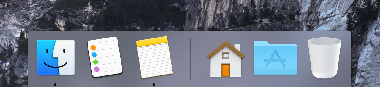 Vibrancy replaces metal in the Yosemite Dock.