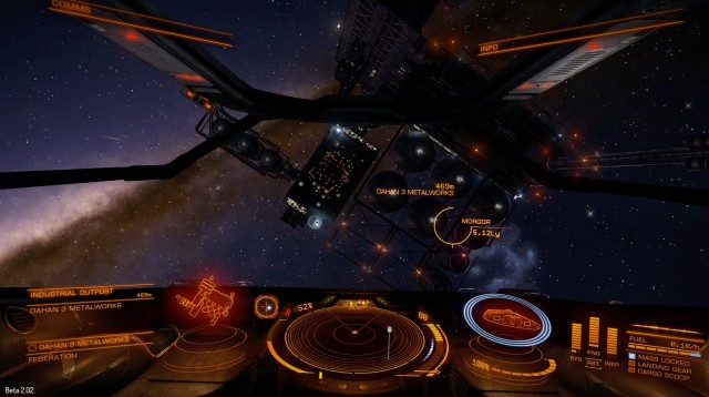 <em>Elite: Dangerous</em> isn't nearly as sharp when viewed through the DK2, but it's amazingly immersive.