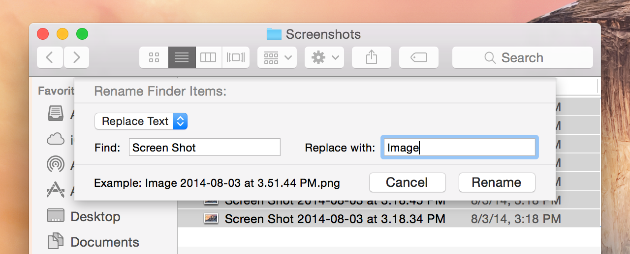 Finder rename sheet: not many options, but better than nothing.