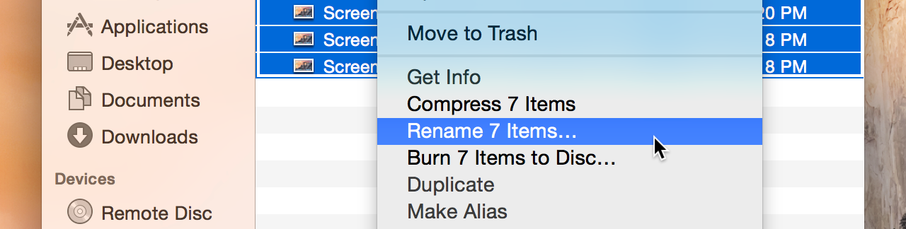 The Finder's new batch renaming feature is hidden in a context menu.