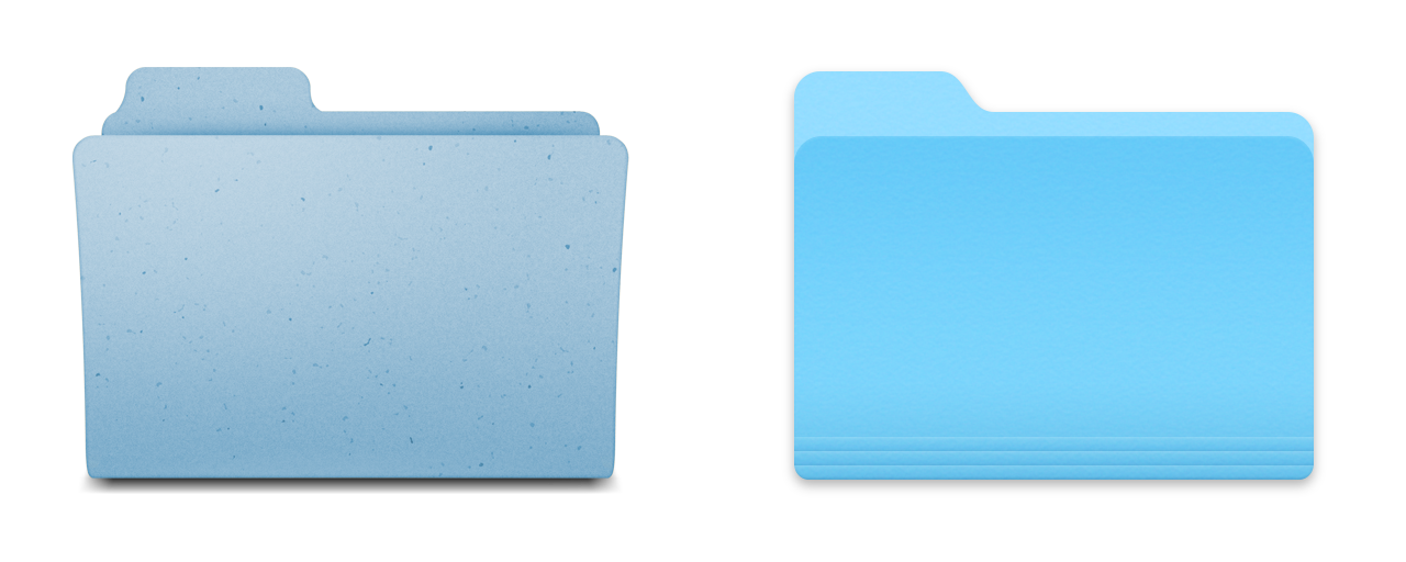 Folder icons: Mavericks on the left, Yosemite on the right. Out with the old and in with the (brighter) blue.