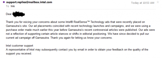 The e-mail attributed to Intel explaining why it was pulling advertising from Gamasutra.