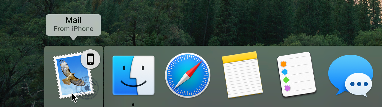 Items available for Handoff appear in a mini-dock next to the regular Dock.