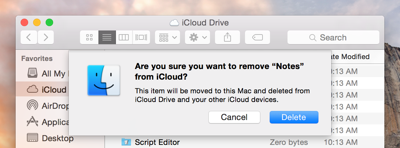 iCloud Drive has a confirmation sheet for every occasion.