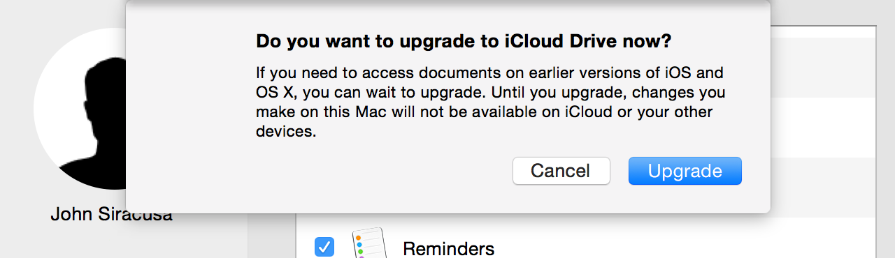 Upgrading to iCloud Drive is a one-time, one-way process.