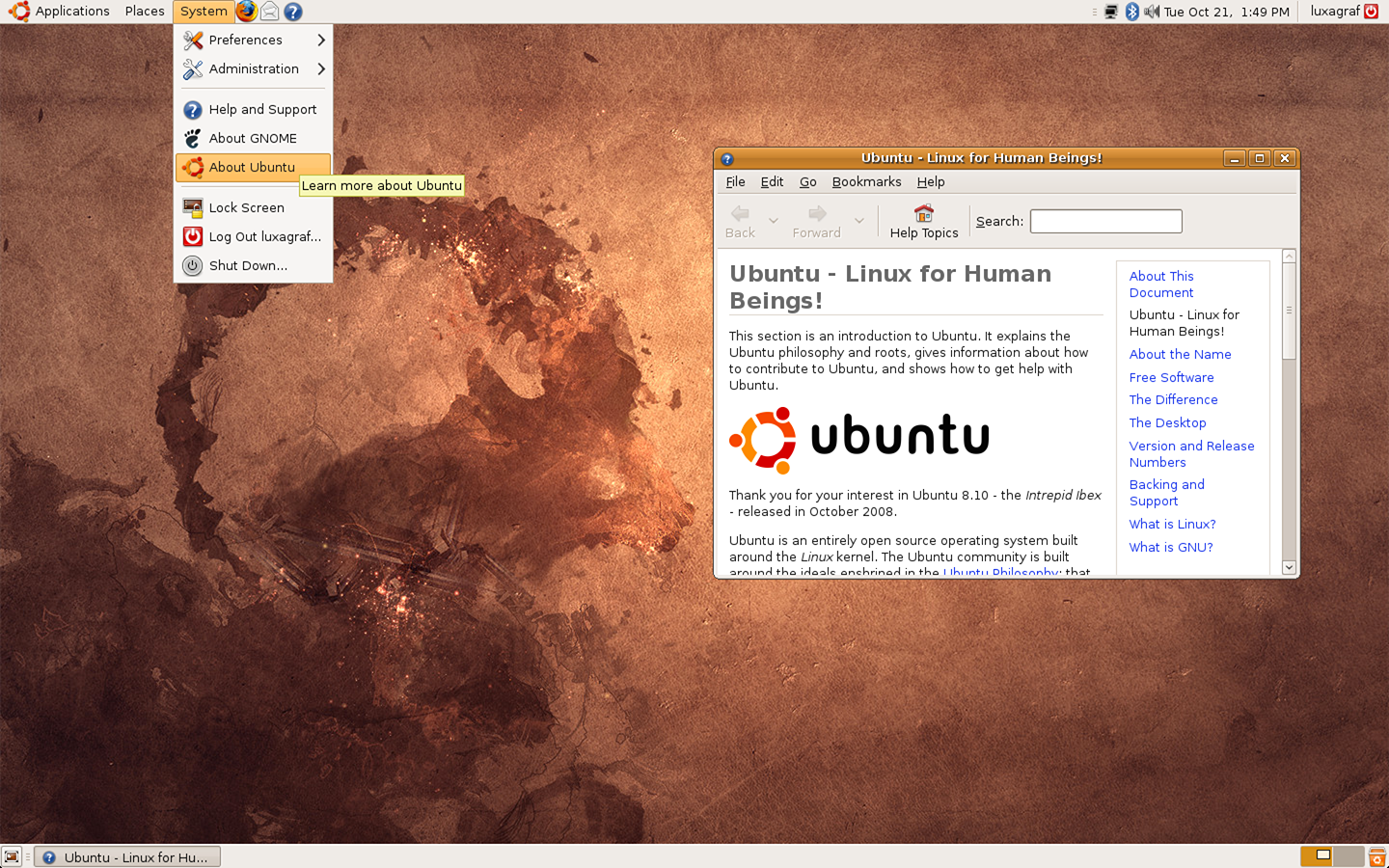 The default desktop of Ubuntu 8.10, Intrepid Ibex.