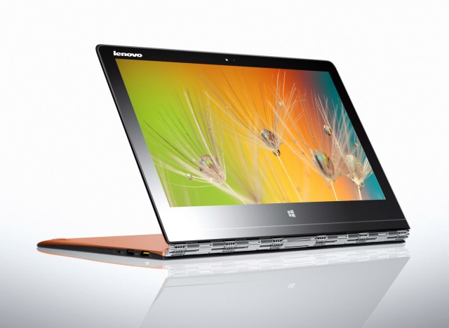 The Yoga 3 Pro showing off its elaborate hinge in action.