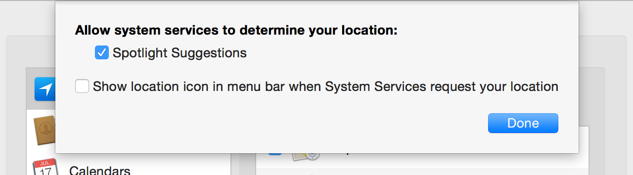 Options for the use of Location Services by parts of the operating system itself.
