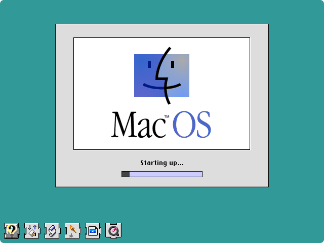 A classic Mac OS startup screen with an extremely unimpressive line of Extension icons.