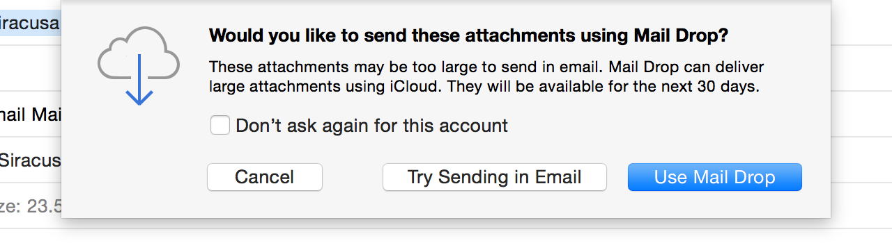 Confirmation before using Mail Drop with a non-iCloud e-mail account.