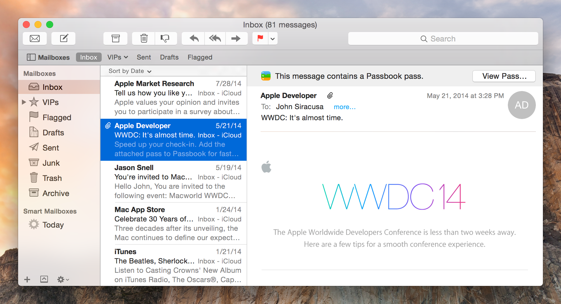 Yosemite Mail: refreshed, but familiar.