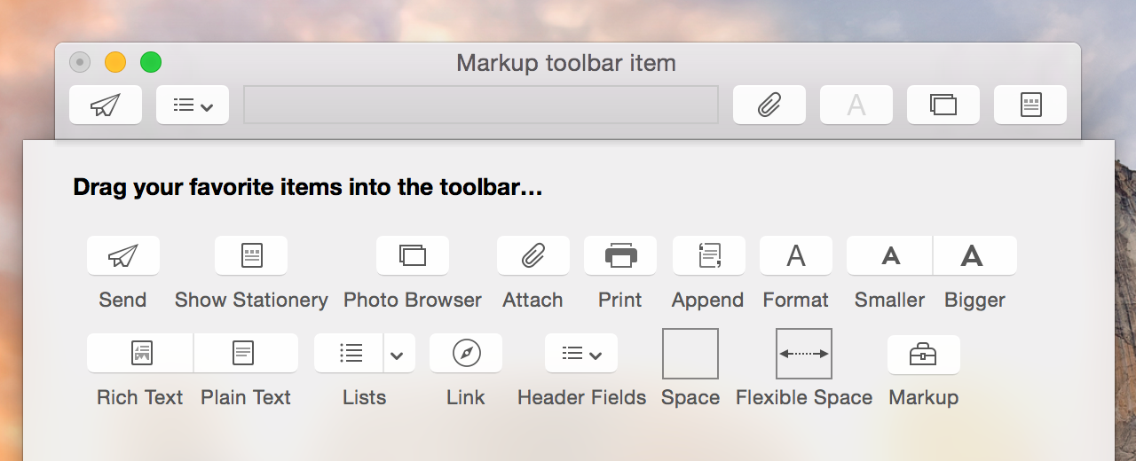 The Markup button in Mail's toolbar customization sheet is provided by the Markup Action Extension.