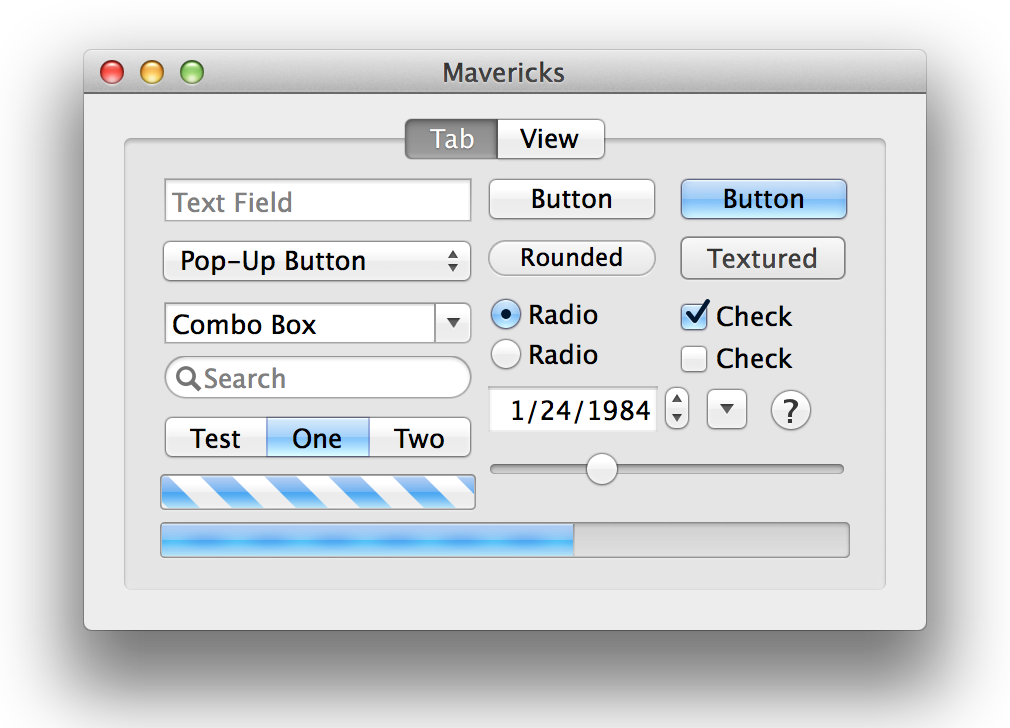 Mavericks standard controls.
