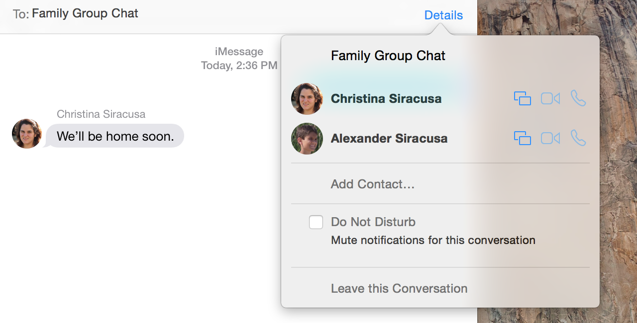 New group chat features lurk under a popover spawned from a decidedly iOS-like borderless button in Messages.