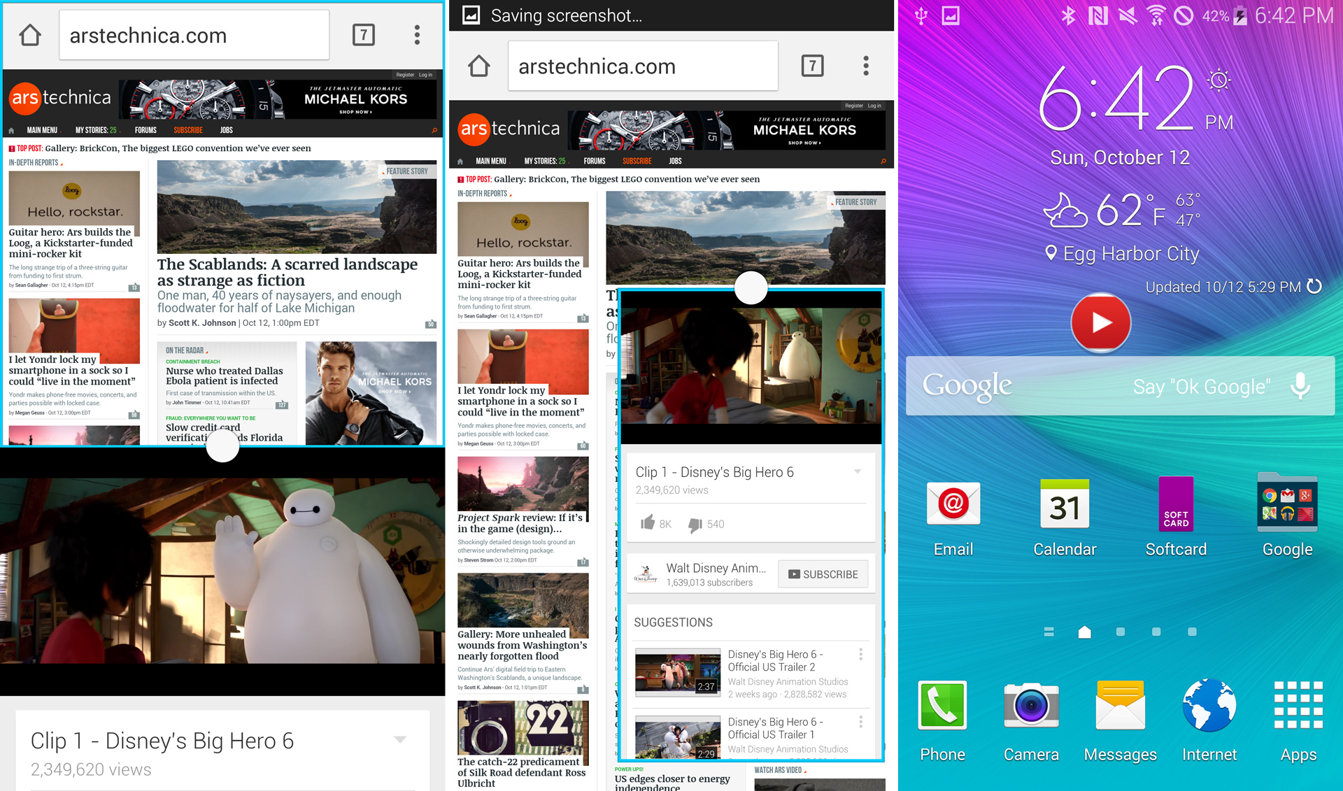 The two multi-app modes and a minimized YouTube bubble on the home screen.
