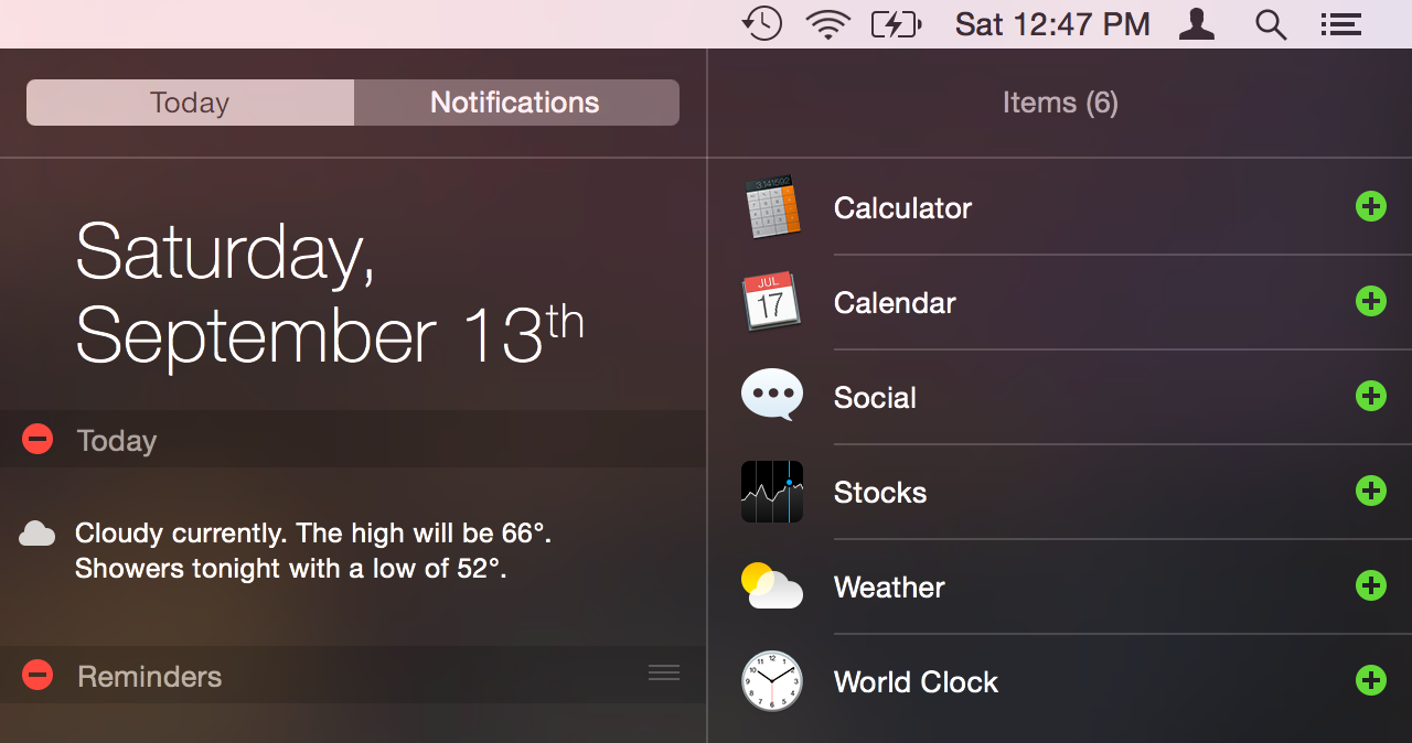 Editing the contents of Notification Center's new Today view.