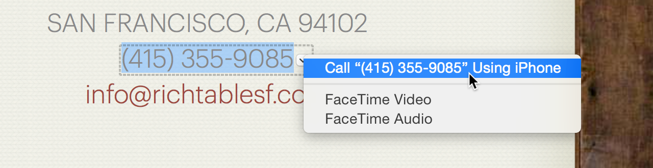 Initiating a call from within Safari: a slightly different interface for read-only text.