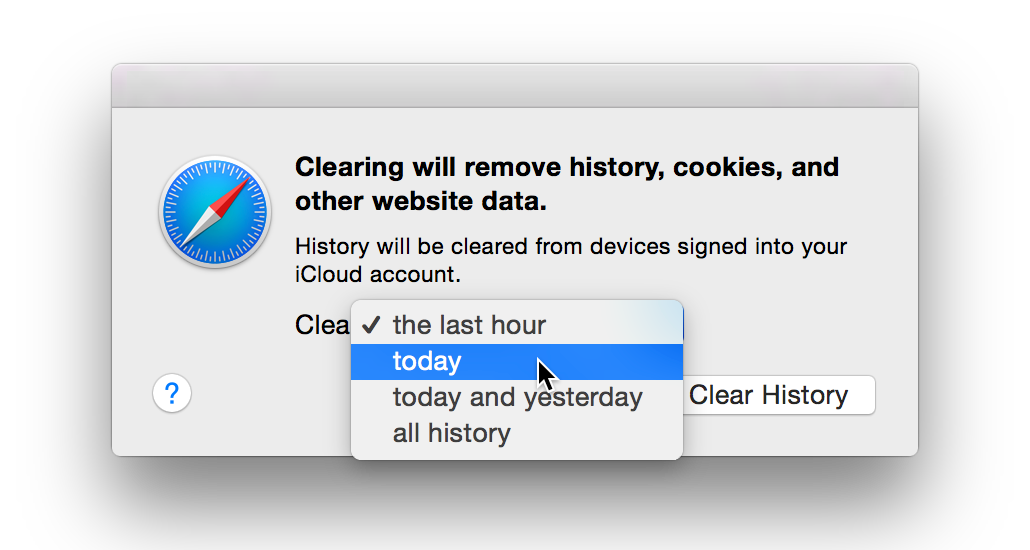 Safari adopts another useful feature from Chrome: clear history for a limited time range.