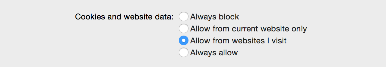 Safari's subtly new cookie preferences.