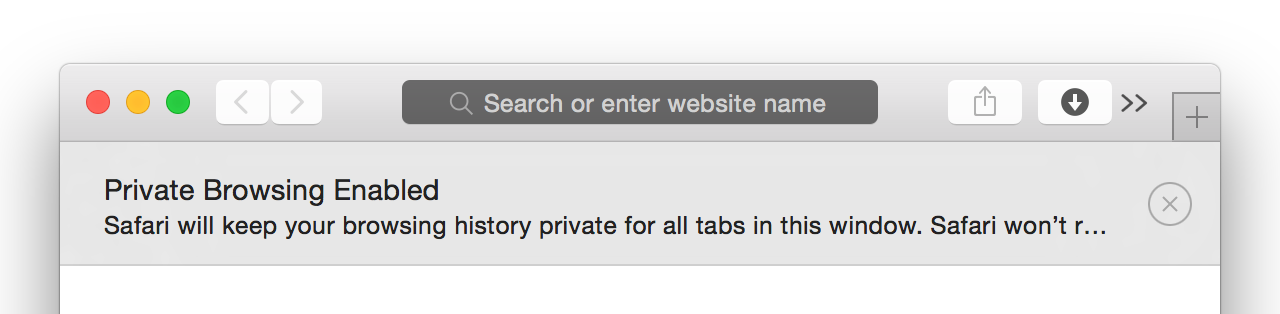 A new Private Window in Safari. Pity about the explanatory message that's truncated instead of wrapped.