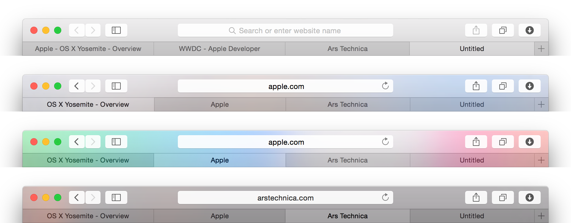 Switching tabs within a single Safari window can drastically affect its appearance.  These are not four separate windows! This is one window, and we're calling it… Safari 8.