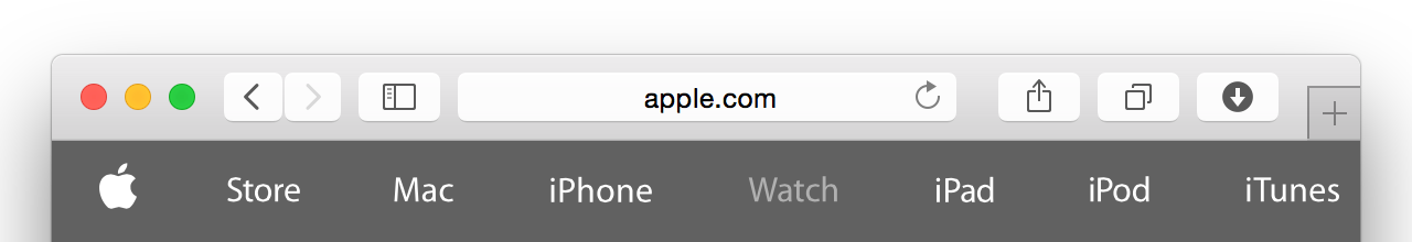 The URL of this page is http://www.apple.com/watch/, but only apple.com is displayed.